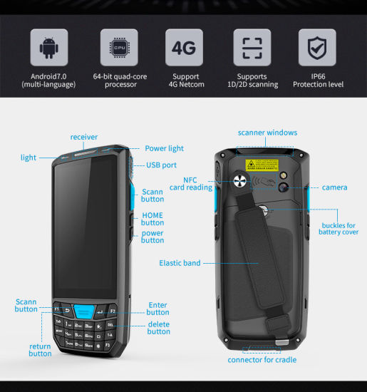 Handheld Rugged Wireless WiFi Mobile Data Collector PDA Terminal 1d Laser  Qr Code Reader 2D Android Barcode Scanner