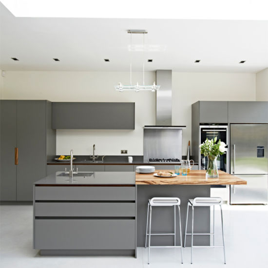 China Custom Modern Grey Kitchen Cabinets Guangzhou