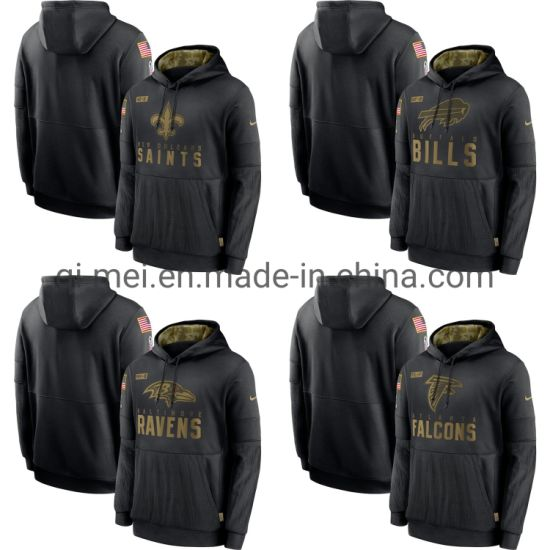 2020 Salute to Service Saints Bills Ravens Falcons Black Sideline Pullovers Hoodies