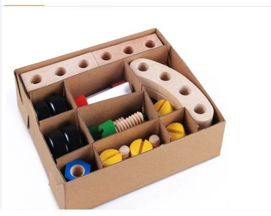 Wooden Nuts and Bolts Set Building Blocks Construction Kit 30 Pieces with a Draw String Bag - Model Building Tool Kits for Kids