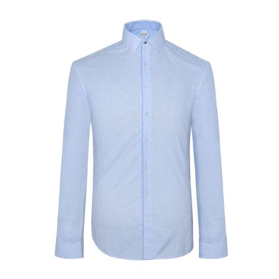 2018 Fashionable Blue Printed Cotton Mens Casual Designer Shirt