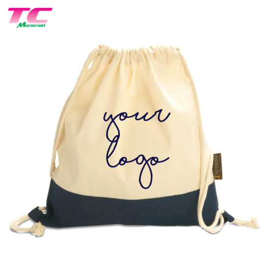 Best-Selling Custom Printed Organic Cotton Drawstring Backpack Bags for Travel, Stock Natural Canvas Drawstring Backpack Bag
