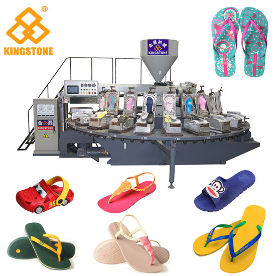 Automatic Rotary Injection Moulding Machine for Making Slipper Sandal Flip-Flop Shoe in Plastic Rubber PVC PCU Material
