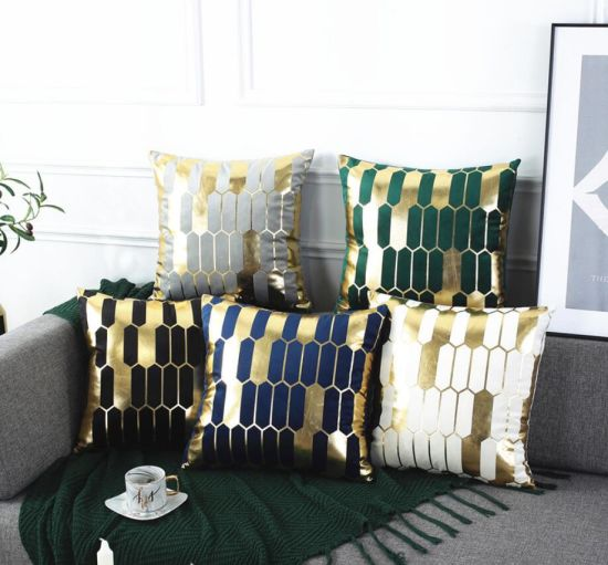 Black and Gold Throw Pillow Cover Cozy Velvet Texture Plaid Embroidery Decorative Pillow Cover, Modern Design Luxury Cushion Case, for Sofa Couch Bedroom Car