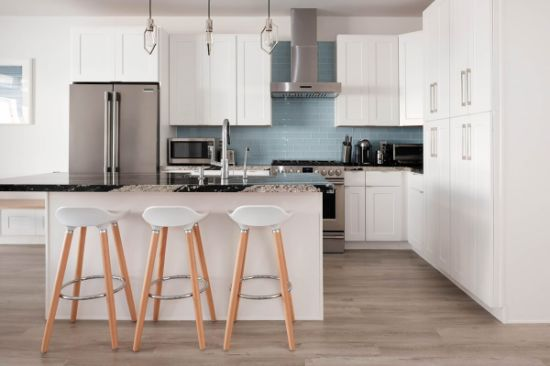 American Modern Style White Shaker Solid Wood Kitchen Cabinets Furniture