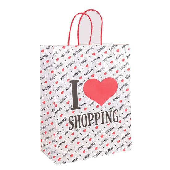 Custom Garment White Plain Kraft Paper Gift Bags Ping