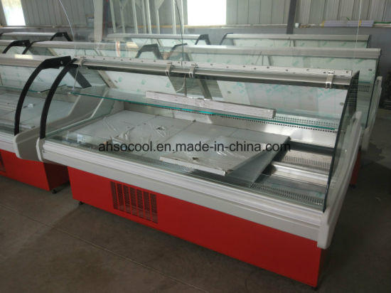 Sliding Glass Door Meat Serve Over Counter with Auto Defrost