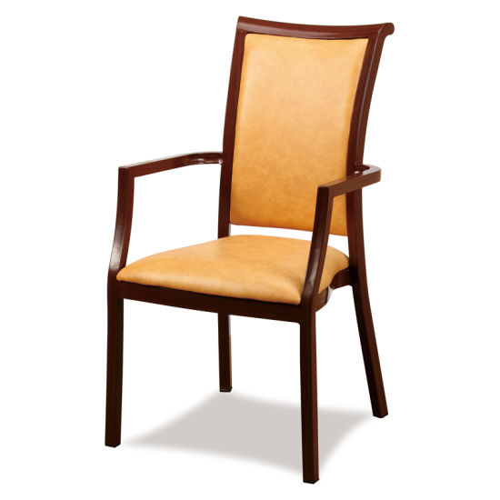 China Top Furniture Hotel Furniture Wood Like Dining Arm Chairs For