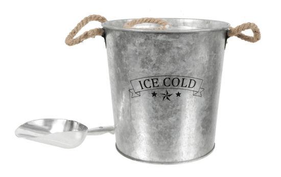 Metal Ice Bucket with Spoon Rope Handle
