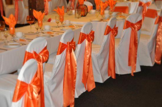 Orange Chair Sash for Wedding Decoration