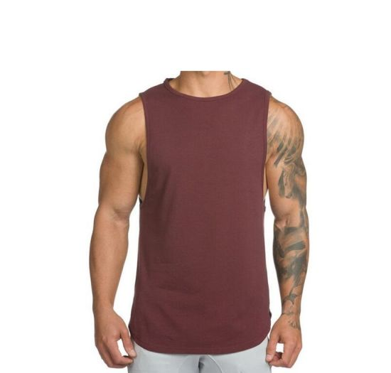 Deep Red Sports Vest 100% Cotton Elastic Suit with Customized Logo