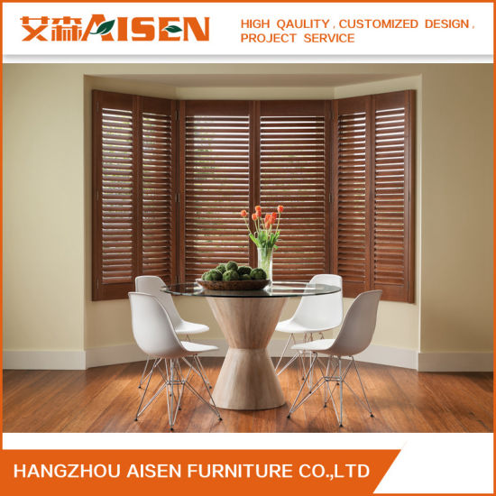 Nice Most Popular Stained Color Window Real Basswood Plantation Shutter