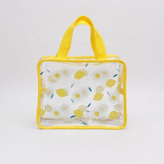 Waterproof PVC Women Hand Bags Transparent Outdoor Travel Handbag with Printing