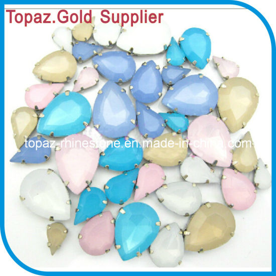 Opal color Oval crystal glass sewing on rhinestones dress making Beads All size