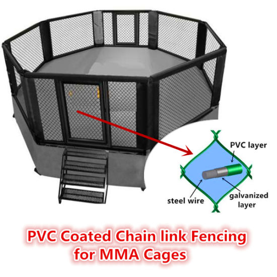 50 X 50 mm Hole PVC Coated Chain Link Fencing/Diamond Wire Netting for MMA Cages/Zoo Mesh/Baseball Fields