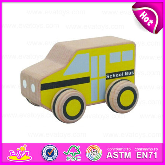 2015 Small Wooden Toy School Bus for Kids, Cartoon Wooden School Bus Toy for Children, Mini Wooden Bus Car for Promotion W04A116 pictures & photos