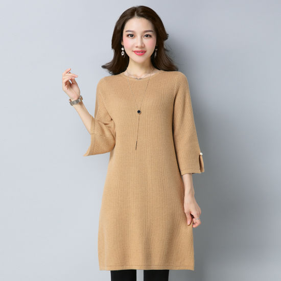 e352a0f3f95 China Ladies Knitwear Dress Long Style Factory Price - China Knitted ...
