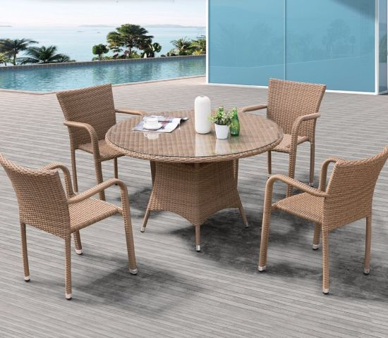 Garden Patio Home Hotel Office Rattan Carlos Leisure Dining Table (J374)