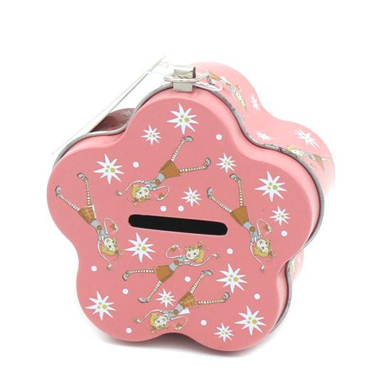 Flower Shape Metal Tin Coin Bank Money Gift Box