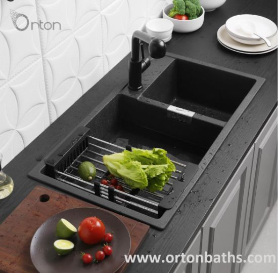 Matte Black Rectangular Topmount Quartz Granite Kitchen Sink pictures & photos