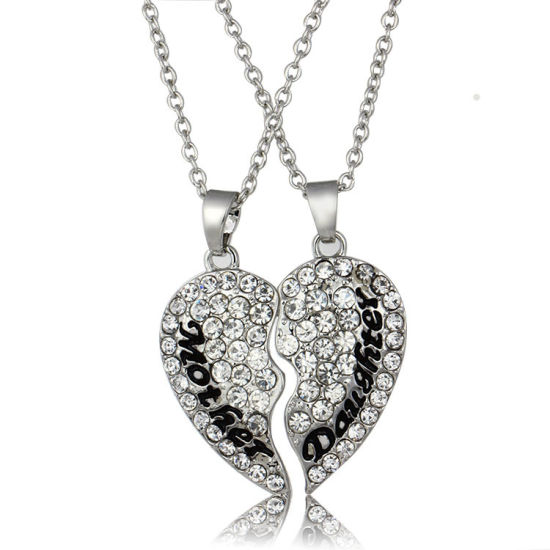 925 Silver Plated Crystal Mom Heart Pendant Necklace Mama For Mother/'s Day