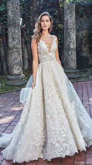 Leaves Lace Bridal Gown V-Neckbeaded Wedding Dress Y20169