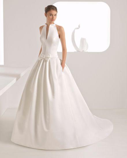 Hot Item Elegant Halter High Neck Open Back With Pocket Satin Wedding Dress