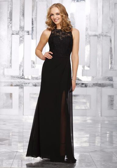 Black Sheath Lace Sequin Chiffon Bridesmaid Dress Evening Gown