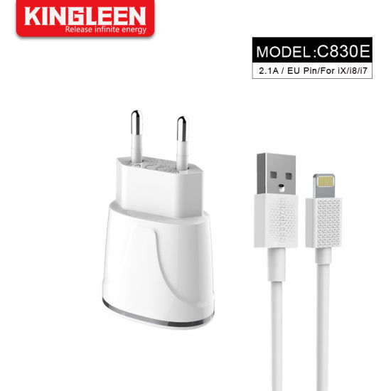 iPhone 8 EU Charger Set: 5W 2.1A Adapter Lightning to USB Cable Kit (1 Home Wall Charger + 1 USB Cable)