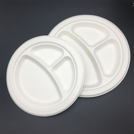 Heavy Duty Biodegradable Disposable Plates Sugarcane 3 Compartment Trays Plates & China Heavy Duty Biodegradable Disposable Plates Sugarcane 3 ...
