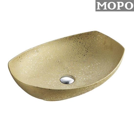 Gold Color Bathroom Sanitraryware Ceramic Wash Basin