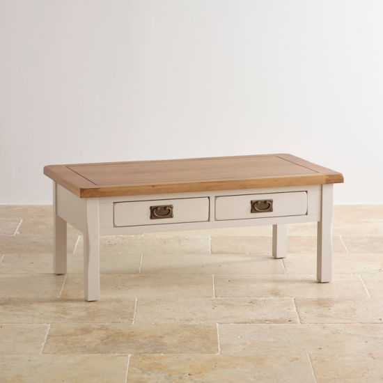 Rustic White Painted Oak Solid Wood Coffee Drawer Table