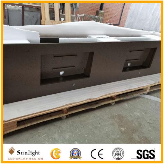Dark Grey Artificial Quartz Countertops for Kitchen Projects