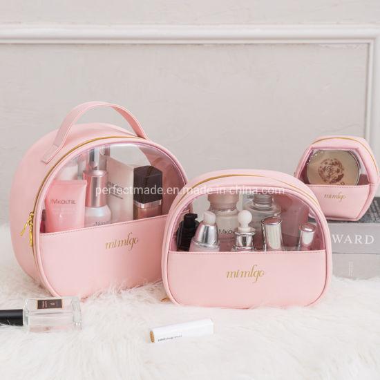 Pink Manufacture Transparent PU Ladies Fashion Makeup Cosmetic Toiletry Bag