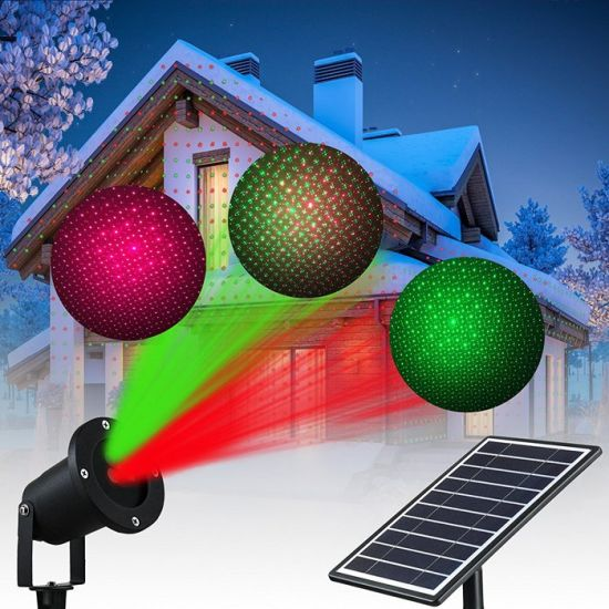 Solar LED Flood Spotlights Star Colorful Projector Lamp Christmas Laser Lights