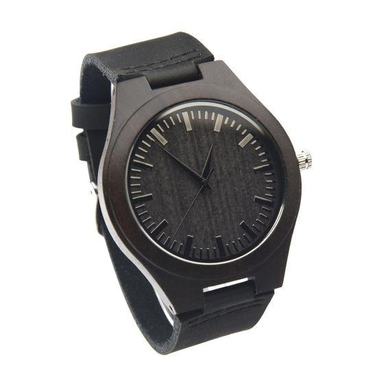Factory Wholesale Men's Watch Black Leather Watch Fashion Leisure Style Ebony Wood Watch