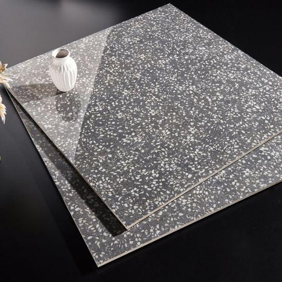 80X80 Gloss Gray Terrazo Design Porcelanato Porcelain Ceramic Tile Floor