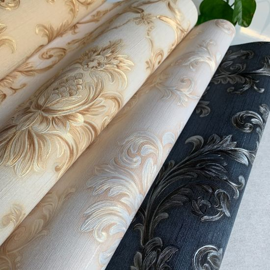 Luxury European Floral Waterproof PVC Wall Paper for Home Decoration