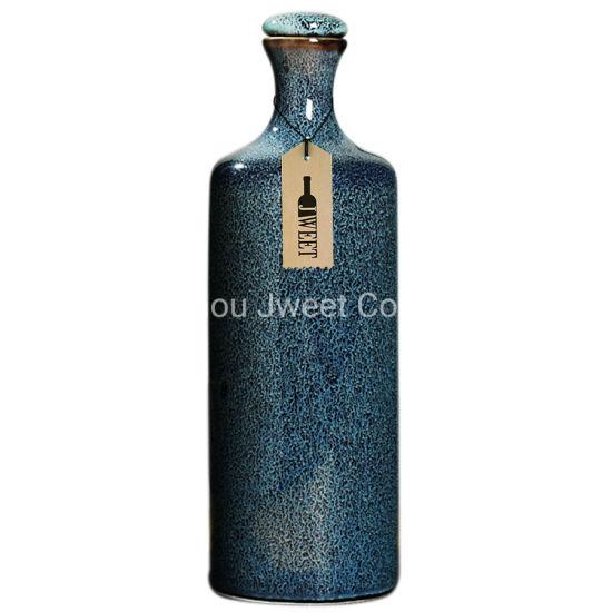 Custom 750ml Printing Gin Ceramic Bottle