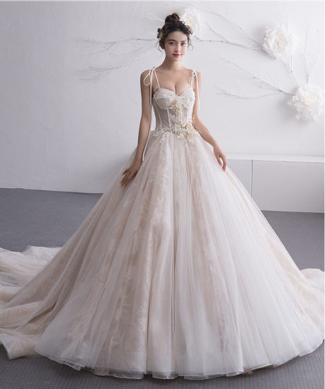 China Sweetheart Bridal Ball Gown Spaghetti Straps Lace Wedding