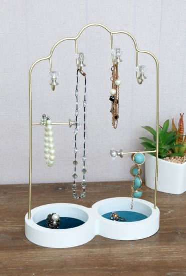 Wooden Circle Base Jewellry with Mirror and Hook, Velvet Jewelry Rack