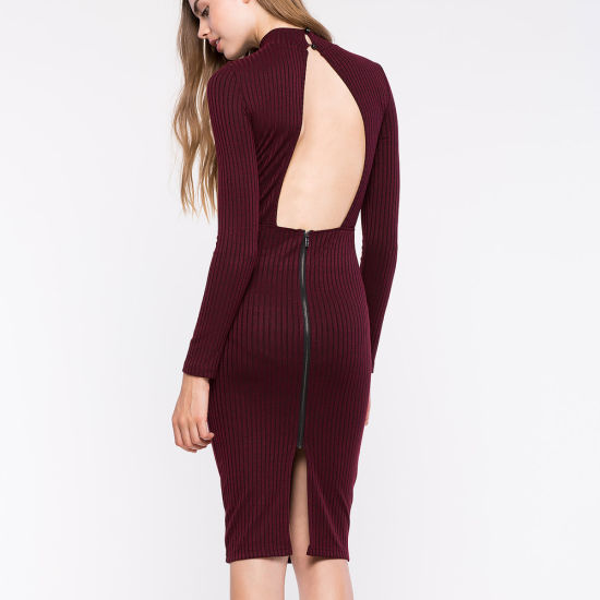 Women Bodycon Turtleneck Open Back Party Evening Winter Sweater Dress