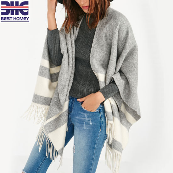 df6e3fd93 China Ladies 100% Pure Cashmere Woven Scarf Women Striped Knitted ...