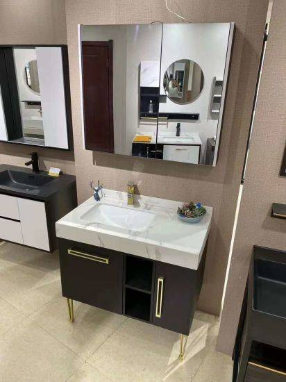 Italian New Design MDF Plywood PVC Solid Wood Bathroom Vanity