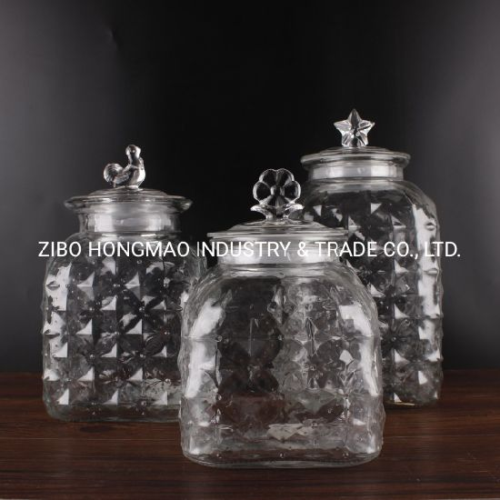 2500ml High Quality Square Airtight Glass Food Container Glass Jar Wholesale