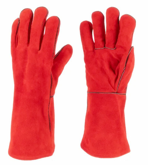 Cheap Red Cow Split Double Palm Leather Welding Safety Working Gloves, Wholesale Industry Industrial Leather Work Welder Hand Gloves