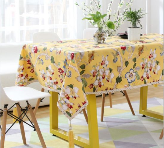 Printed Chinese Style Classic Simple But Elegant Pure Cotton Linen Table Cloth
