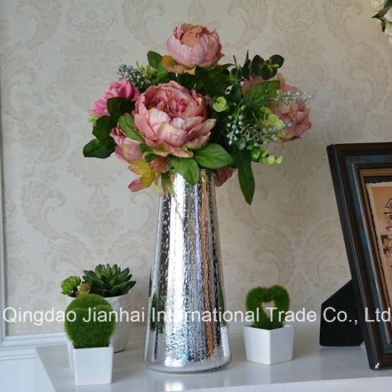 China Modern Home Decorative Glass Bottle Colourful Flower Vase
