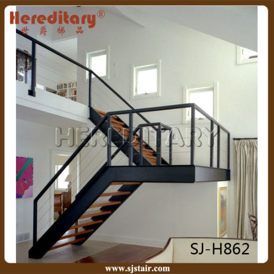 Stainless Steel And Wood Straight Staircase For Indoor With Cable Railing  Fence