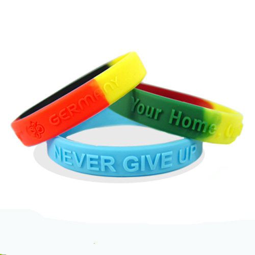 Customized Color Segmented Embossed/Debossed/Printed Silicone Rubber Bracelets for Events